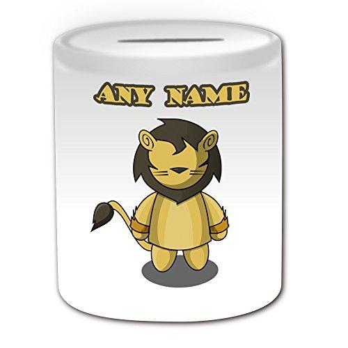 Personalisiertes Geschenk-Spardose Löwe Feige (Märchen Design Thema, weiß)-alle Nachricht/Name auf Ihre einzigartige-Der Zauberer von Oz