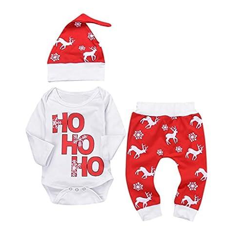 URSING Xmas Baby Jogginganzug Mädchen 3PCS Outfits SetBrief Gedruckt Spielanzug Overall + Hirsch Sport Hosen + Soft Cap Weihnachten Outfits Set Prinzessin Rot Freizeit Kleider (12M,