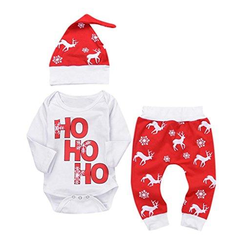 URSING Xmas Baby Jogginganzug Mädchen 3PCS Outfits SetBrief Gedruckt Spielanzug Overall + Hirsch Sport Hosen + Soft Cap Weihnachten Outfits Set Prinzessin Rot Freizeit Kleider (6M, Rot)