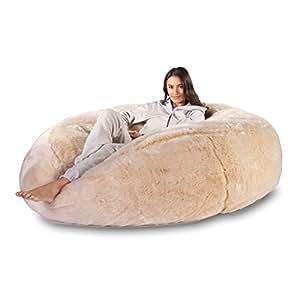 mega en imitation fourrure mammouth pouf poire marron ours massive par taille xxl lounge. Black Bedroom Furniture Sets. Home Design Ideas