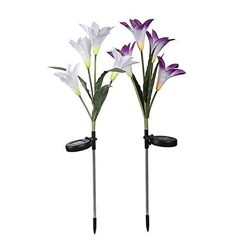 lamta1k Künstliche Lilie, solarbetrieben, für den Außenbereich, hochwertig, lebendige Farben, mit echter Haptik, Gartenlampe, Rasendekoration, LED-Licht