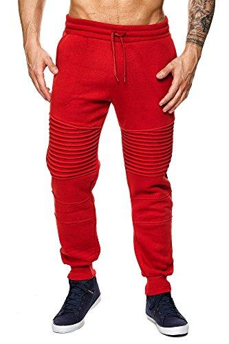 MEGASTYL Herren Jogginghosen Sweat-Pants Biker-Style Slim-Fit 100% Baumwolle, Farbe:Rot, Größe:S