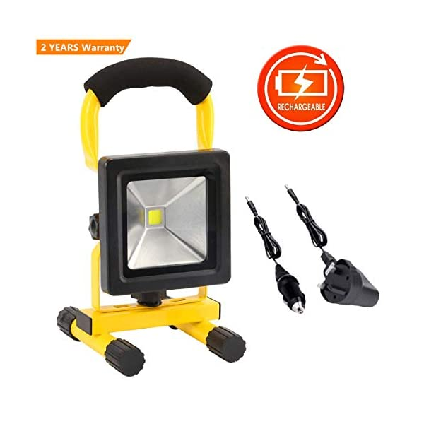 10W LED Rechargeable Work Lights Portable Floodlight IP65 Waterproof Spotlight Car Home Emergency Security Light Outdoor Travel Lamp for Camping Workshop Garden Garage 41j4DVHY EL