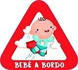 Adesivo Bebe a bordo per l'auto. Adesivi in vinile Bimbo o bimba a bordo anche per moto. 16 x 14'5 cm.