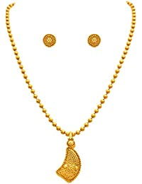 Jfl - Jewellery For Less Traditional Ethnic One Gram Gold Plated Pendant Set For Women