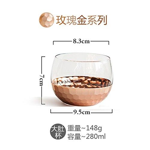 Gold-plated Cup (WANG-shunlida Glass Cup Gold Plated Cups Haushalt Gläser Kaltes Getränk Tassen Saft Tassen Milch Tassen Transparent Fashion Ins,D)