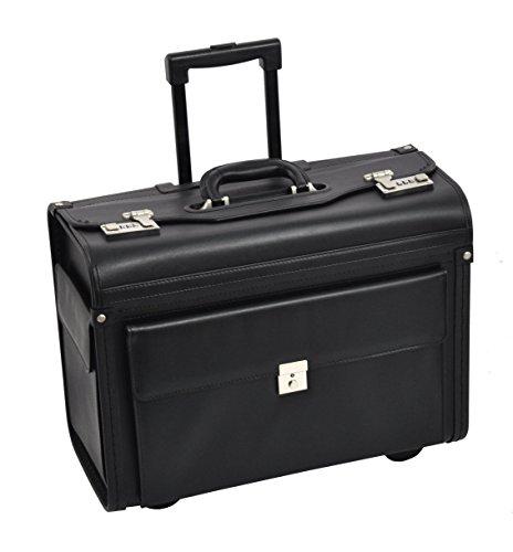 """Dermata Pilotenkoffer Trolley Rollen Laptopfach 17\"""" Pilotentrolley mit Vortasche und zwei Seitentaschen"""