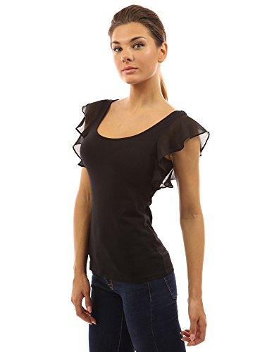 Flattern Ärmel Bluse (PattyBoutik Damen Rundhalsausschnitt Bluse mit Spitze und Rüsche (schwarz 40/M))
