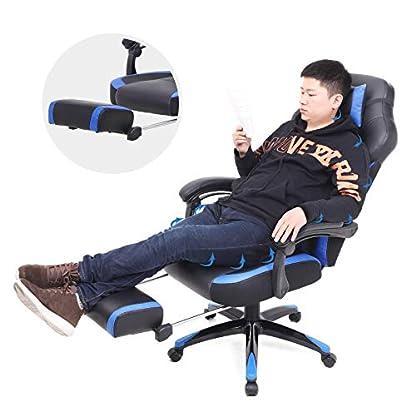 SONGMICS Silla de Oficina con Asiento expandido, Altura Ajustable, Diseño ergonómico, OBG77
