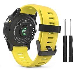 MoKo Garmin Fenix 3 Bracelet, Bracelet de Remplacement Flexible en Silicone avec des Outils pour Garmin Fenix 3 / Fenix 3 HR/Fenix 5X /5X Plus(Pas Compatible de Fenix 5) Smart Watch,Jaune