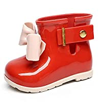 QQYUXIE Children Rain Boots Kids Girl Fashion Butterfly-Knot Baby Girls Autumn Boots For Boys Rubber Ankle Shoes