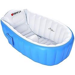 Kintone Baignoire Gonflable Pour Bébé Pliable Bassin Gonflable Enfant Avec Siège Central Anti-Glissante Été (Bleu)