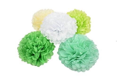 Set Seidenpapier Bunte Pompoms Dekoration für Party Hochzeit Deko (Grün Serie) ()