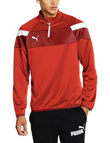 PUMA Herren Langarmshirt Spirit II 1/4 Zip Training Top T-shirt, red-White, L