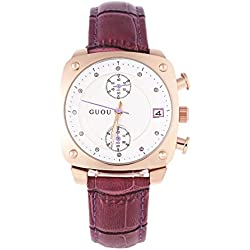 Leopard Shop GUOU 8108 Women Quartz Watch Chronograph Square Dial Artificial Diamond Scale 3ATM Wristwatch Purple