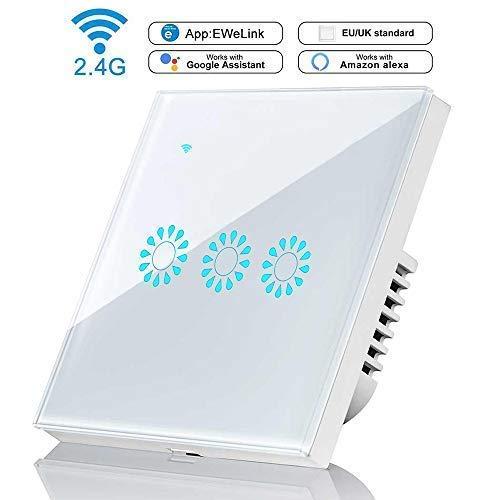 leegoal 3 Gang WiFi Alexa lichtschalter, WLAN Smart Lichtschalter arbeitet mit Amazon Alexa und Google Home, Intelligent Touchscreen-Schalter Aufputz für Home-Schlafzimmer-Küche kompatibel ist -
