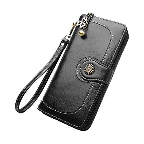 Fenical Wristlet Purse Multipurpose Long Wallet Triple-Fold Card Slots für Damen Lady (Schwarz) (Wallet Card 19 Slot)