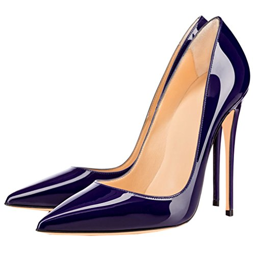 ENMAYER Femmes Sexy Dégradé et Imprimer Stiletto High Heel Pumps Pointe Toe Slip-on Chaussures Plus Size Violet