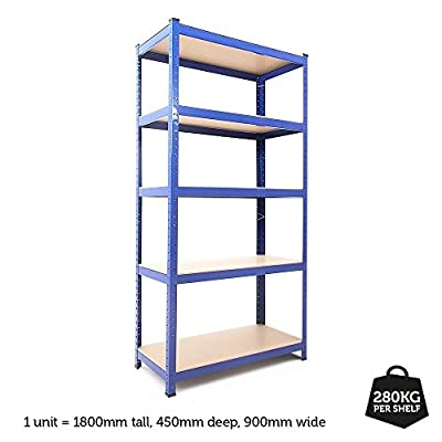 Tool Style Boltless Industrial Garage Warehouse 5 Tier Shelving Racking Heavy Duty Racks Shelves 280kgs Per Shelf 1.8m High produced by Tool Style - quick delivery from UK.