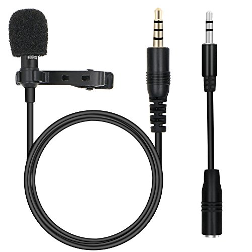 Rusee Mikrofon für Smartphone, Ansteckmikrofon Omnidirectional Kondensator-Mikrofon für iPhone, iPad, iPod Touch, Laptop Macbook, Android Smartphones, PC mit Klipp Lavalier Lapel, 3,5 mm Klinke