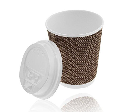 Élégant couvercle Ripple 280 ml, marron + Bonnets avec ouverture de haute qualité, de gobelet strié Coffee Cups avec structure, gobelets jetables, gobelets en carton, To Go Gobelet Tasse, carton, papier rigide (280ml), noir, 400 ml