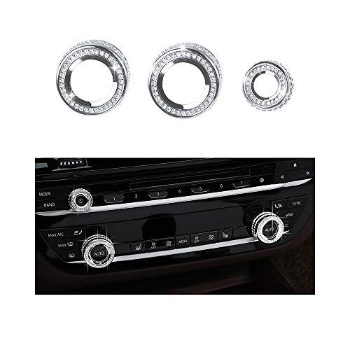 VDARK Teile AC-Drehknopf Klimakappen Abziehbilder Aufkleber Bling Innendekoration Compatible with BMW Zubehör 5 6 7 Serie X3 X4 X5 X6 G30 G31 G13 G12 G01 F15 F16 F26 XDrive AWD Kristall (Silber) (Bmw Zubehör Sonnenblende)