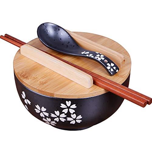 Bols mélangeurs Bol Japonais Bol À Soupe Vintage Bol Multifonctionnel en Céramique Noire Envoi du Couvercle du Bol Et De La Cuillère Vaisselle Essentielle Cadeau Bols mélangeurs