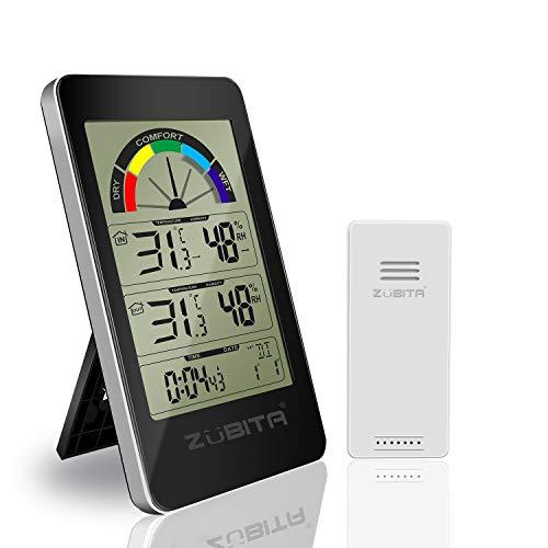 Zubita Termómetro Higrometro, Termohigrómetro con Pantalla LED Digital y Sensor Inalámbrico, Temperatura, Humedad, Alarma de Temperatura, Reloj Despertador para Oficina/Casa (Negro)