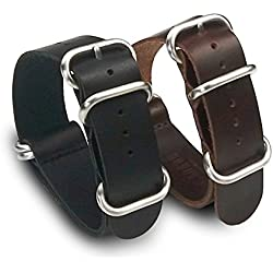 2x Nato/Zulu Strap Style With Genuine Leather Straps in Black and Brown Leather Bracelet with 5 Rings