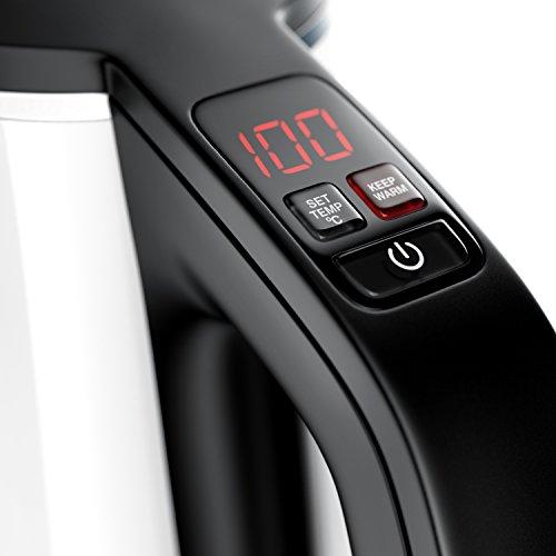 Arendo – Edelstahl Wasserkocher mit Temperatureinstellung | 7 wählbare Temperaturstufen 40° C – 100° C | 3 Tasten (Temperatureinstellung + Warmhaltefunktion + ON/Off) | BPA frei | LED-Display | integrierter Kalkfilter | 1,5 Liter | 1850 – 2200 Watt | 360° drehbarer Kontaktsockel | doppelwandiges Edelstahlgehäuse | weiß - 2