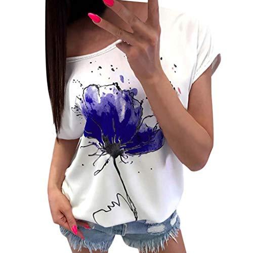 LEXUPE Damen Casual Blumendruck Bluse Kurzarm Lose Top Shirt TDamen Kurzarm T-Shirt Mit ()