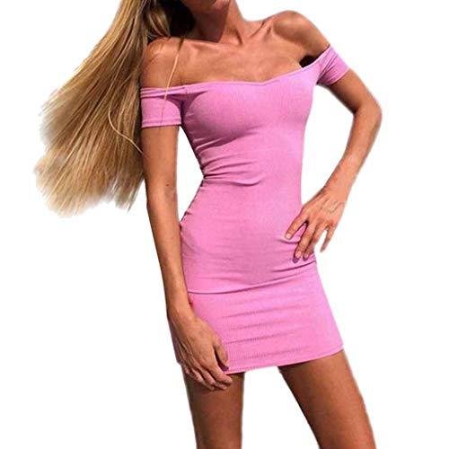 JMETRIC Schlankes, Kurzärmeliges Minikleid mit Kurzen Ärmeln für Frauen(Rosa,5XL)