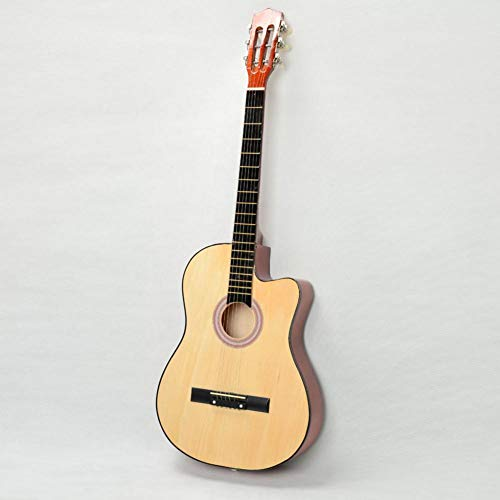 total-shop Cutaway Akustikgitarre mit Gitarre Plektrum Holzfarbe 96,5 cm