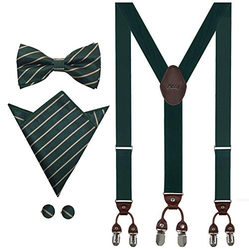 ür Herren 3.5cm Y-Form Elastisch und Längenverstellbar Hosenträger Breit mit 6 starken Clips und Fliege & Einsteckuch Grün Streifen ()