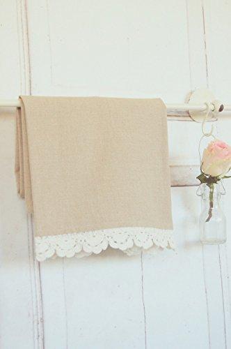 Geschirrhandtuch, Handtuch im Landhaus shabby antique Stil mit Spitze