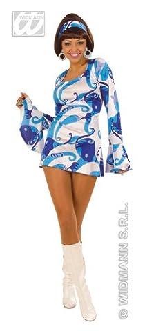 Widmann 70er Jahre Minikleid Hippie blau, Größe M