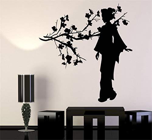 Declaración de pared de vinilo familiar decoración de bricolaje arte pegatinas decoración para el hogar arte de la pared oriental geisha chica japonesa rama de árbol de sakura japón estilo asiático
