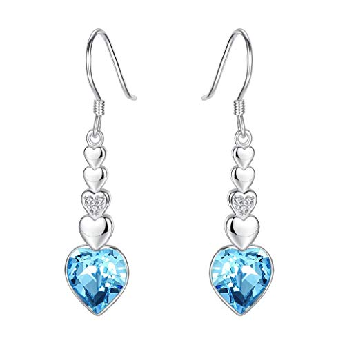 Clearine orecchini donna-argento figura 8 amore cuore gancio ciondolare orecchini adornato con swarovski cristallo acquamarina colore