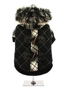 "UrbanPup Luxury Black / White Duffle Coat with Detachable Hood (Medium - Dog Body Length: 12"" / 30cm) from UrbanPup"