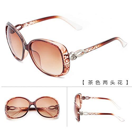 Sonnenbrille Frauen Sonnenbrille Retro lässig neue helle Brille Sonnenbrille koreanische Sonnenbrille Sonnenbrille Trend Persönlichkeit Sommer Sonnencreme Sonnenbrille Spiegel lila zwei Blumen, braun