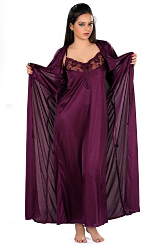 Yogalz Women Satin Dark Purple Nighty with Robe Nightwear Set Robe Gown