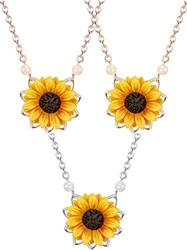 3 Stück Süße Sonnenblume Anhänger Halskette Harz Daisy Sunflower Clavicular Kette Mode Choker Halskette Schmuck für Frauen, Gold/Rose Gold/Silber (Stil 1)