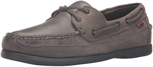 Sebago SCHOONER Herren Bootsschuhe Dark Grey Tumbled Leather