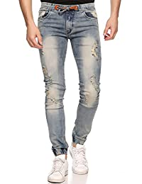 Lafantar Men's Distressed Denim Jogger Jeans
