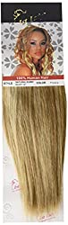 1st Lady Silky Straight Natural European Weft Human Hair Extension with Premium Blend Weave, Number P12/613, Caramel Brown/Lightest Blonde, 10-Inch