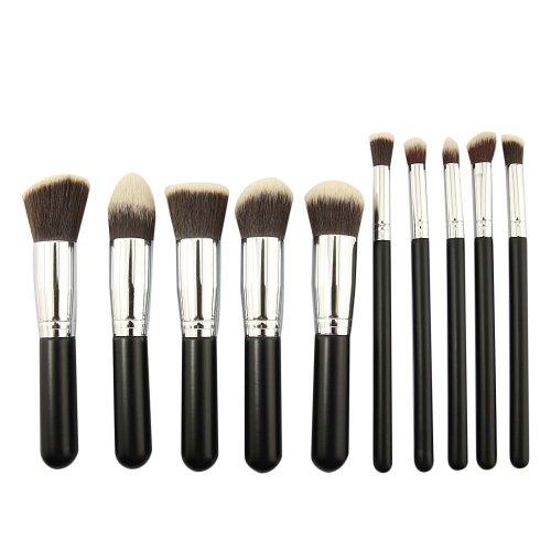 Lychee 10pcs Pinceaux de Maquillage Professionnel Brosse Souple Kit Cosmétiques à la Mode (Noir-Argent)