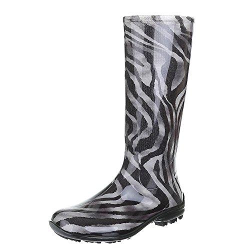 Damen Schuhe, GST-F100P, REGENSTIEFEL GUMMISTIEFEL Schwarz Grau 1