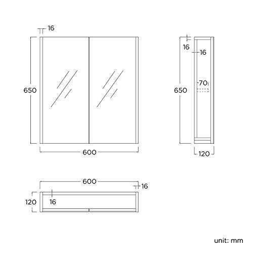 600 x 650 mm Modern Gloss White Bathroom Mirror Cabinet Storage Furniture
