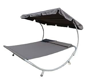 bain de soleil transat chaise longue lit de jardin avec pare soleil 2 places gris neuf 63g. Black Bedroom Furniture Sets. Home Design Ideas