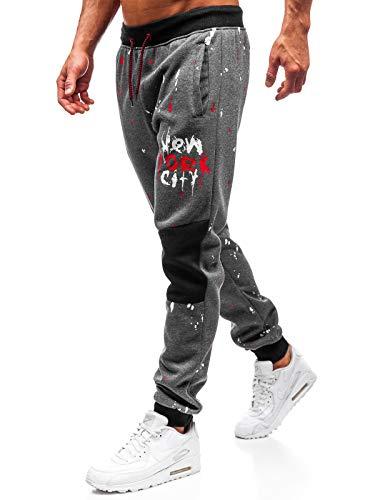 BOLF Herren Sporthose Joggerhose Jogginghose Muster Training Fitnes Sport Style J.Style 55066 Dunkelgrau XXL [6F6]